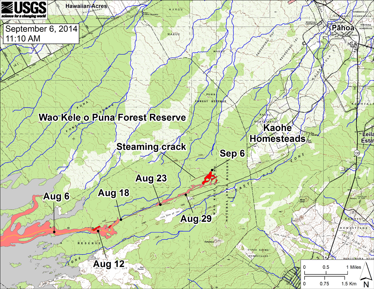 "USGS HVO says, ""This large-scale map shows the distal part of the June 27th flow in relation to nearby Puna communities. The area of the flow on September 3 is shown in pink, while widening and advancement of the flow as mapped on September 6 at ~11:10 AM is shown in red. The black dots mark the flow front on specific dates. September 6 point Lat/Lon position: 19.448003/-154.992676 Decimal Degrees; WGS84. The blue lines show down-slope paths calculated from a 1983 digital elevation model (DEM; for calculation details, see http://pubs.usgs.gov/of/2007/1264/)."""