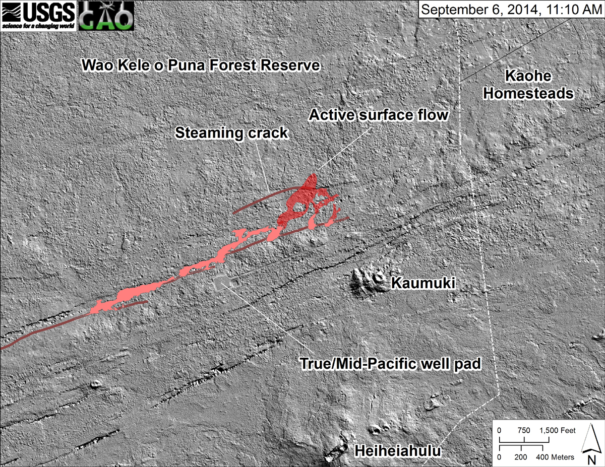 "USGS HVO says, ""This shaded-relief map, courtesy of the Carnegie Airborne Observatory, shows some of the cracks, faults, and grabens (down-dropped blocks between adjacent faults; http://earthquake.usgs.gov/learn/glossary/?term=graben) that are present in Kīlauea's East Rift Zone, and which are partly controlling the June 27th flow's advance direction. They are not old lava channels. The June 27th flow as of September 3 is shown in pink, while flow advance since then (as of ~11:10 AM on September 6) is partly transparent and shown in red. At the time of the mapping, the flow had mostly filled a ground crack (which extended to the west and was steaming) and was advancing toward the north."""