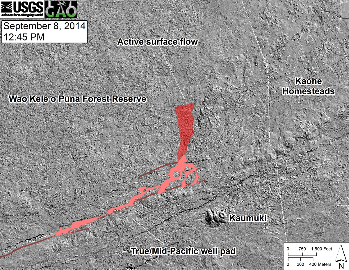 (USGS HVO) This shaded-relief map, courtesy of the Carnegie Airborne Observatory, shows some of the cracks, faults, and grabens (down-dropped blocks between adjacent faults; http://earthquake.usgs.gov/learn/glossary/?term=graben) that are present in Kīlauea's East Rift Zone, and which have partly controlled the June 27th flow's advance direction. The June 27th flow as of September 6 is shown in pink, while flow advance since then (as of ~12:45 PM on September 8) is partly transparent and shown in red. At the time of the mapping, the flow was advancing toward the north, and its front was at the location of the last obvious east-northeast-trending structure visible on the map.