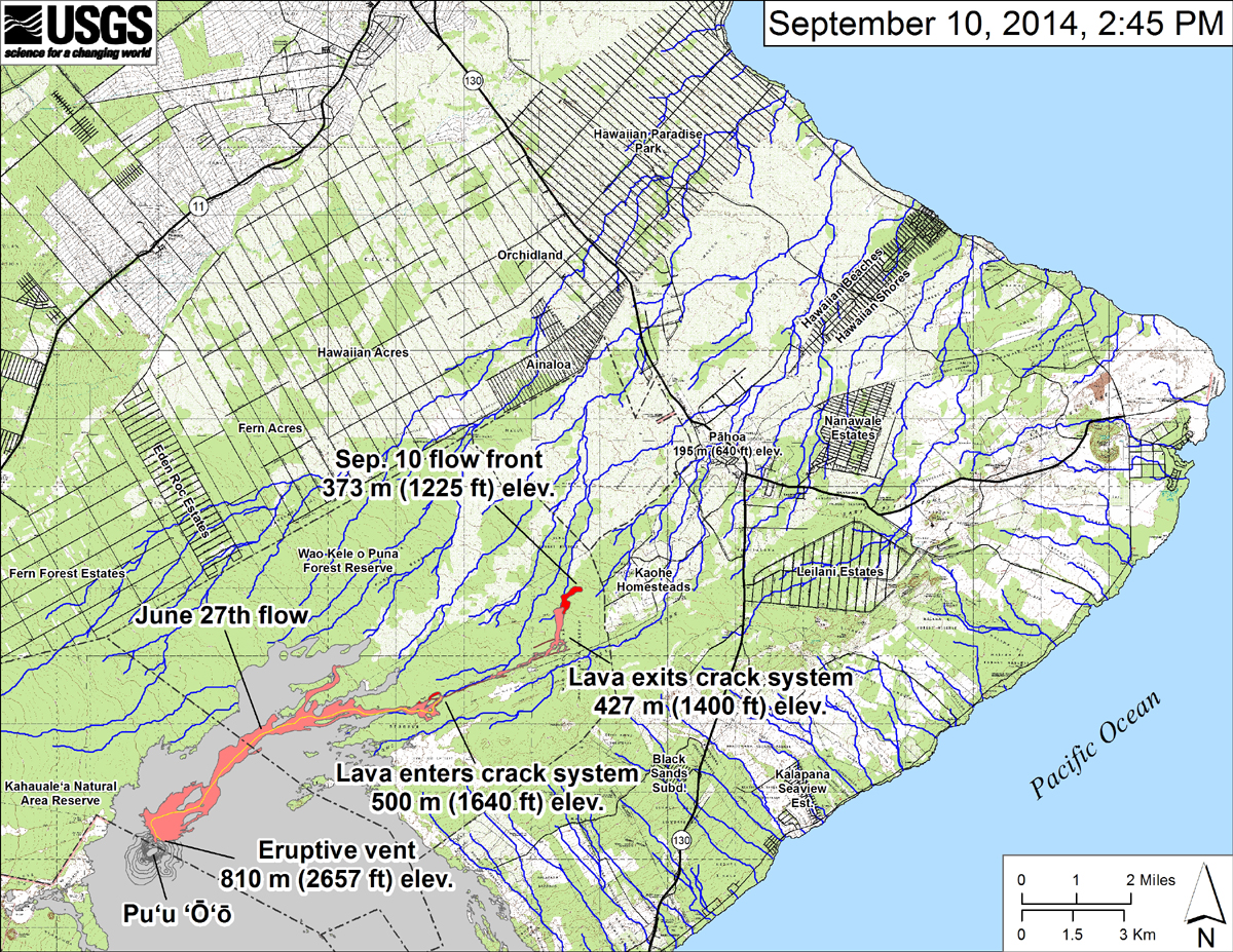 "New USGS HVO map: ""This small-scale map shows the June 27th flow in Kīlauea's East Rift Zone on September 10, 2014."" write scientists. ""The area of the flow on September 8, 2014, at 12:45 PM is shown in pink, while widening and advancement of the flow as mapped on September 10 at 2:45 PM is shown in red. The front of the active flow was 14.5 km (9.0 miles; straight-line distance) from the vent and 0.6 km (0.4 miles) from the east boundary of the Wao Kele o Puna Forest Reserve. The actual length of the flow, measured along the lava tube axis (so that bends in the flow are considered) is 16.6 km (10.3 miles). The flow was advancing toward the northeast. The blue lines show down-slope paths calculated from a 1983 digital elevation model (DEM). For an explanation of down-slope path calculations, see: http://pubs.usgs.gov/of/2007/1264/. All older Puʻu ʻŌʻō lava flows (1983–2014) are shown in gray; the yellow line marks the lava tube."""