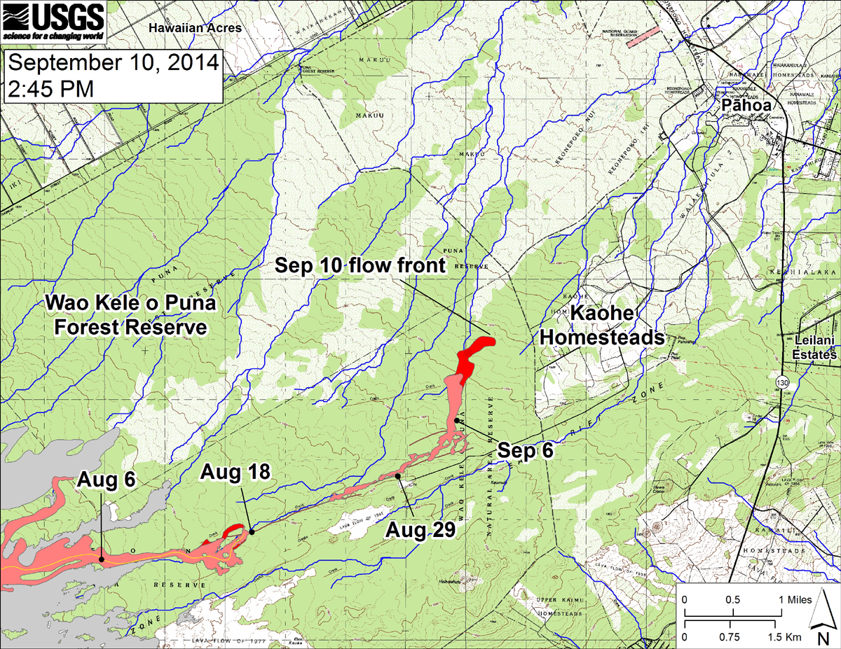 "According to USGS, ""This large-scale map shows the distal part of the June 27th flow in relation to nearby Puna communities. The black dots mark the flow front on specific dates. The latitude and longitude of the flow front on September 8 was 19.460895/-154.986613 (Decimal degrees; WGS84). The blue lines show down-slope paths calculated from a 1983 digital elevation model"""
