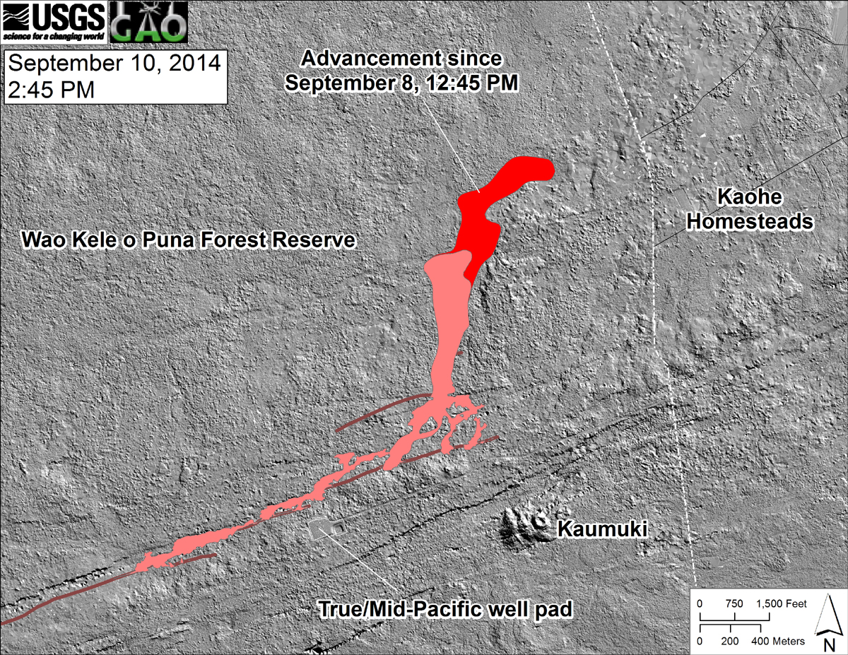 "From USGS: ""This shaded-relief map, with digital surface data provided by the Carnegie Airborne Observatory, shows some of the cracks, faults, and grabens (down-dropped blocks between adjacent faults; http://earthquake.usgs.gov/learn/glossary/?term=graben) that are present in Kīlauea's East Rift Zone, and which have partly controlled the June 27th flow's advance direction. The June 27th flow as of September 8, 2014, at 12:45 PM is shown in pink, while flow advance since then (as of ~2:45 PM on September 10) is shown in red. At the time of the mapping, the flow was advancing toward the northeast."""