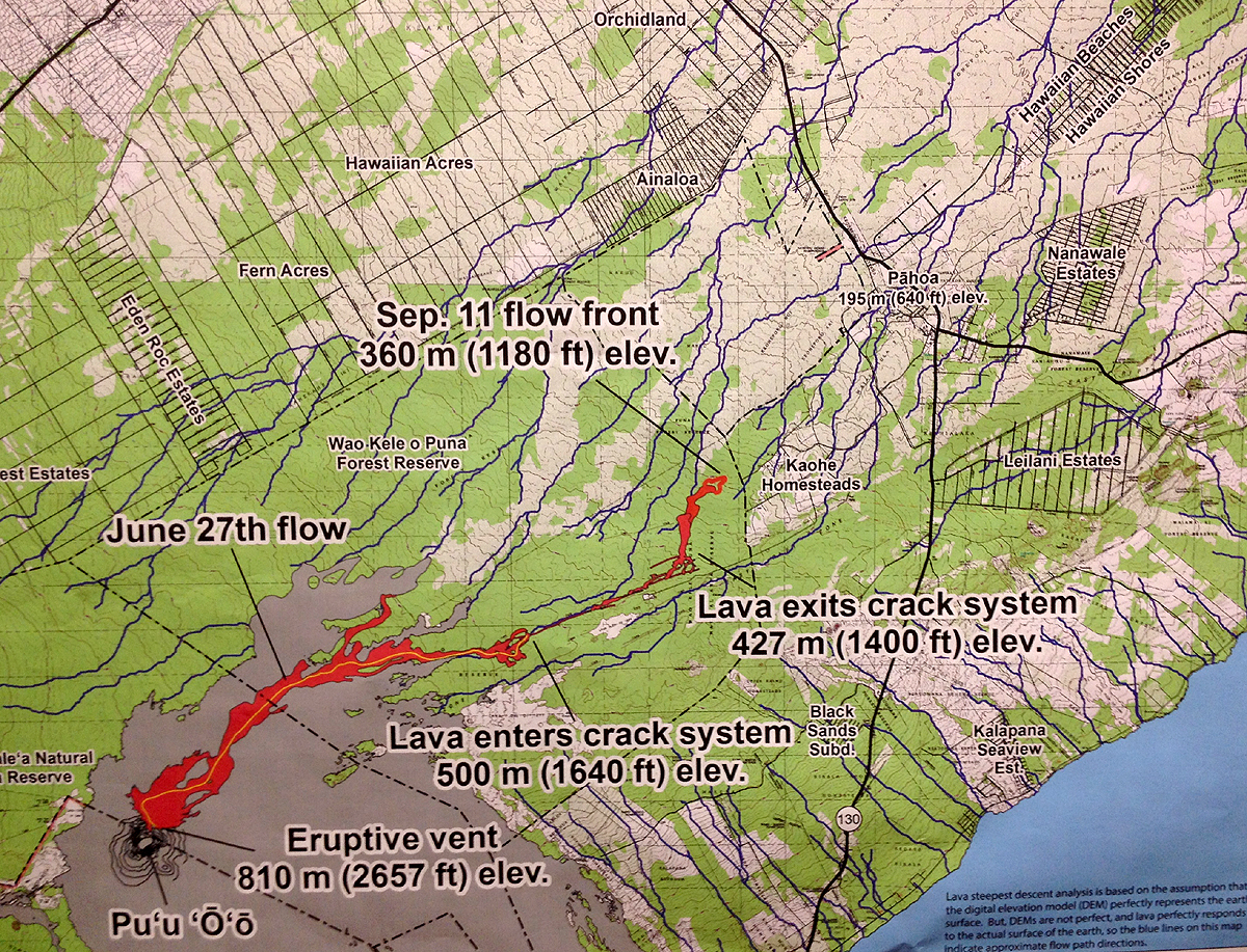 The Sept. 11 USGS HVO lava flow map. This was photographed by Big Island Video News and is not a digital copy of the full map. Some cropping has occurred.