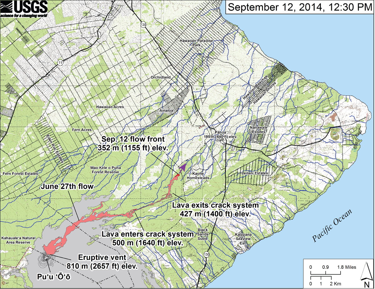 """USGS HVO: """"This small-scale map shows the June 27th flow in Kīlauea's East Rift Zone on September 12, 2014. The area of the flow on September 10, 2014, at 2:45 PM is shown in pink, while widening and advancement of the flow as mapped on September 12 at 12:30 PM is shown in red. The front of the active flow was 14.9 km (9.3 miles; straight-line distance) from the vent and 0.17 km (0.1 miles) from the east boundary of the Wao Kele o Puna Forest Reserve. The actual length of the flow, measured along the lava tube axis (so that bends in the flow are considered) is 17.1 km (10.6 miles). The flow was advancing toward the northeast. The blue lines show down-slope paths calculated from a 1983 digital elevation model (DEM)."""""""