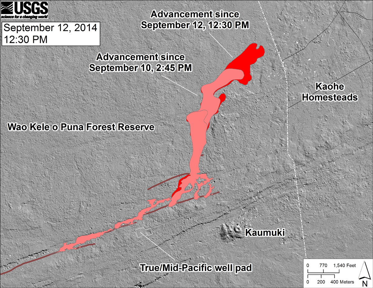 """USGS HVO: """"This shaded-relief map, with digital surface data provided by the Carnegie Airborne Observatory, shows some of the cracks, faults, and grabens (down-dropped blocks between adjacent faults; http://earthquake.usgs.gov/learn/glossary/?term=graben) that are present in Kīlauea's East Rift Zone, and which have partly controlled the June 27th flow's advance direction. The June 27th flow as of September 10, 2014, at 2:45 PM is shown in pink, while flow advance since then (as of ~12:30 PM on September 12) is shown in red. At the time of the mapping, the flow was advancing toward the northeast. """""""