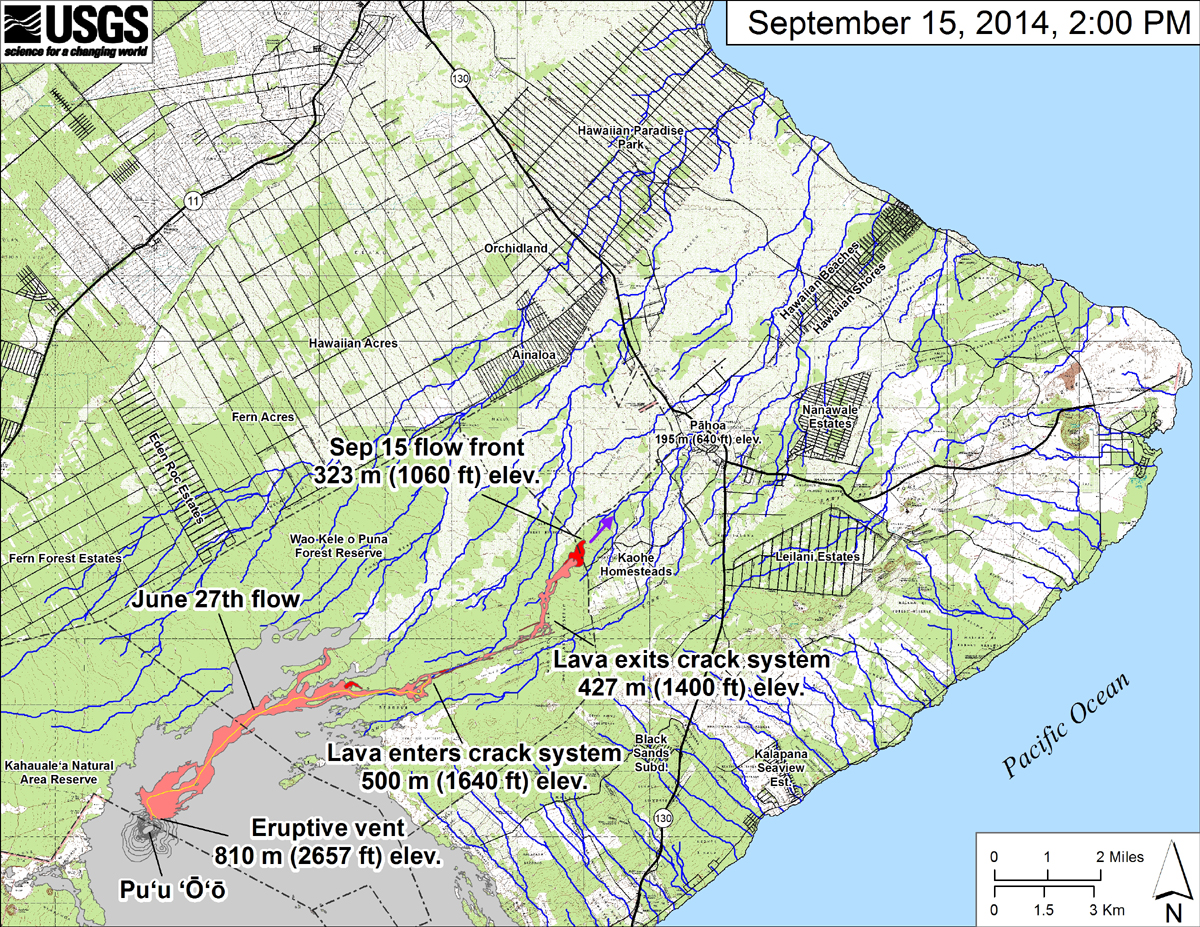 "USGS: ""This small-scale map shows the June 27th flow in Kīlauea's East Rift Zone in relation to lower Puna. The area of the flow on September 12, 2014, at 12:30 PM is shown in pink, while widening and advancement of the flow as mapped on September 15 at 2:00 PM is shown in red. The front of the active flow was 15.5 km (9.6 miles; straight-line distance) from the vent and had crossed the Wao Kele o Puna Forest Reserve boundary into the vacant northwest corner of Kaohe Homesteads. The flow front was advancing toward the northeast and was 4.3 km (2.7 miles) upslope from Pāhoa Village Road. The actual length of the flow, measured along the lava tube axis (so that bends in the flow are considered) is 17.7 km (11.0 miles). The blue lines show down-slope paths calculated from a 1983 digital elevation model (DEM). The purple arrow shows a short term projection of flow direction based on the flow behavior over the past several days and the local topography."""