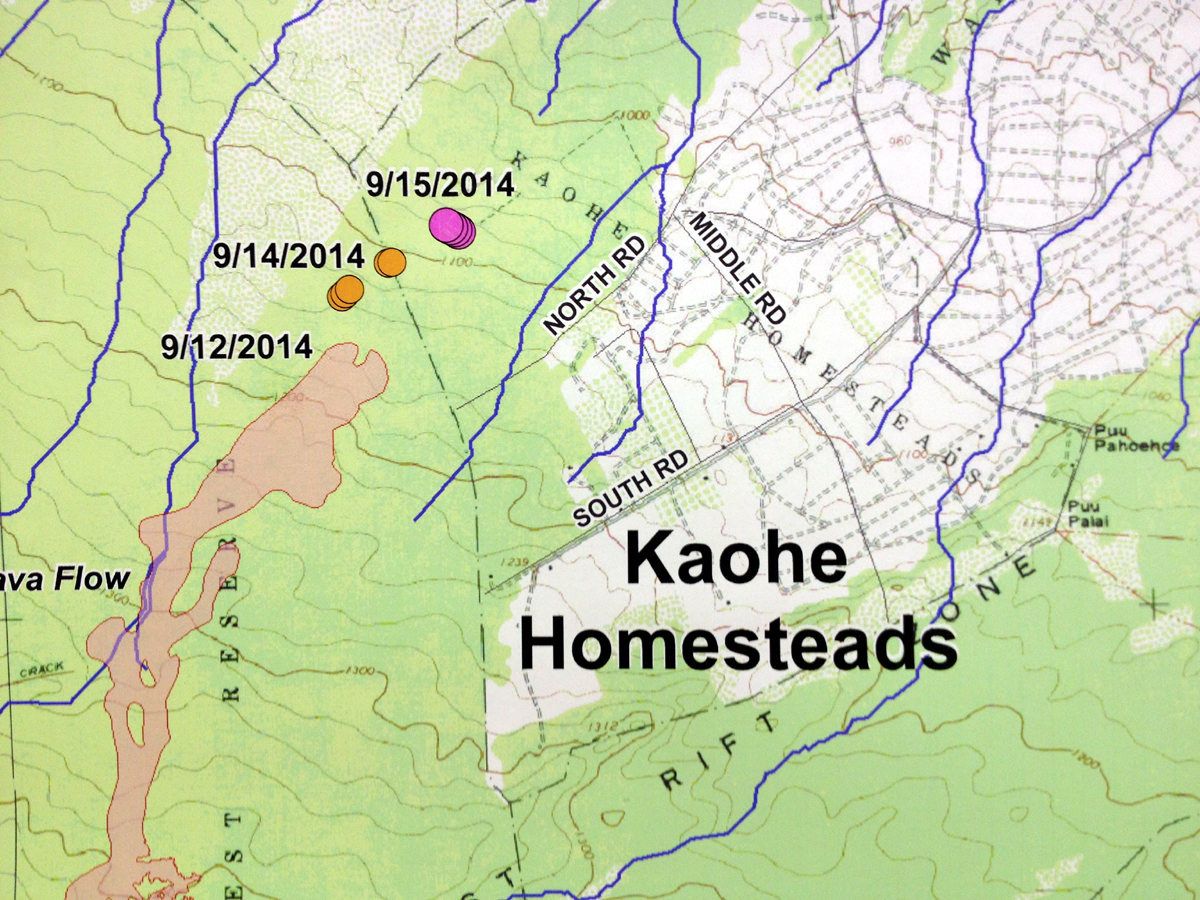 An image of a Hawaii County produced map showing today's location of the lava flow front, inside Kaohe subdivision. The USGS would later confirm the position of the lava with maps of their own.