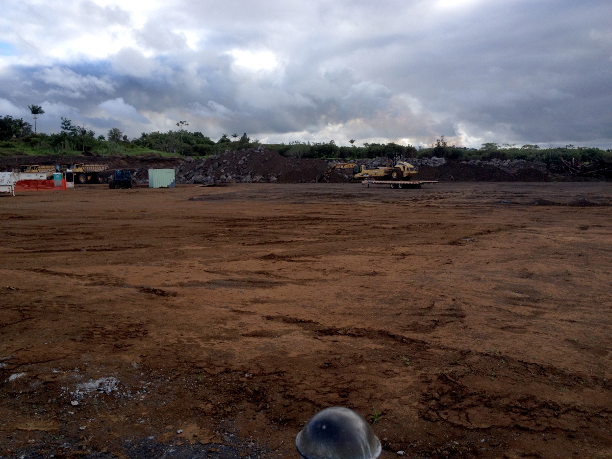 The $22.3 million Pahoa District Park project has been put on hold as a lava flow approaches. The cleared land sits quiet, for now.