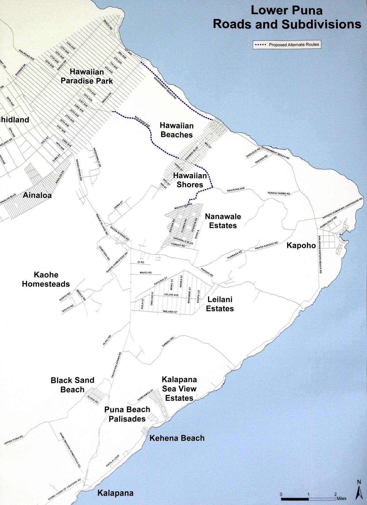 Photograph of an official Hawaii County map showing planned roadwork. Much of it is already well underway.