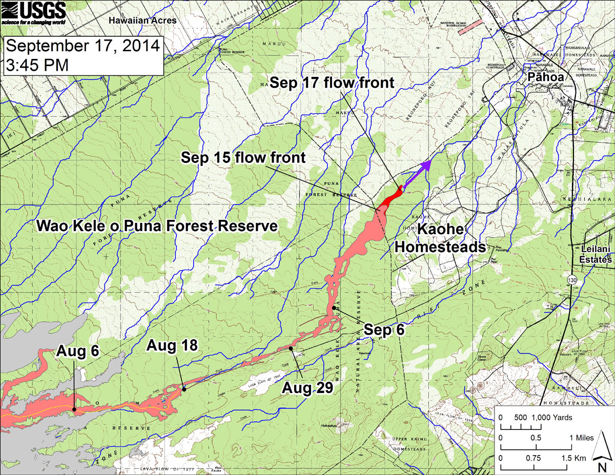 "USGS HVO: ""This large-scale map shows the distal part of the June 27th flow in relation to nearby Puna communities. The black dots mark the flow front on specific dates. The latitude and longitude of the flow front on September 17 was 19.4737016 /-154.977834 (Decimal degrees; WGS84). The blue lines show down-slope paths calculated from a 1983 digital elevation model (DEM; for calculation details, see http://pubs.usgs.gov/of/2007/1264/). Down-slope path analysis is based on the assumption that the digital elevation model (DEM) perfectly represents the earth's surface. But, DEMs are not perfect, so the blue lines on this map indicate approximate flow path directions. The purple arrow shows a short term projection of flow direction based on the flow behavior over the past several days and the local topography."""