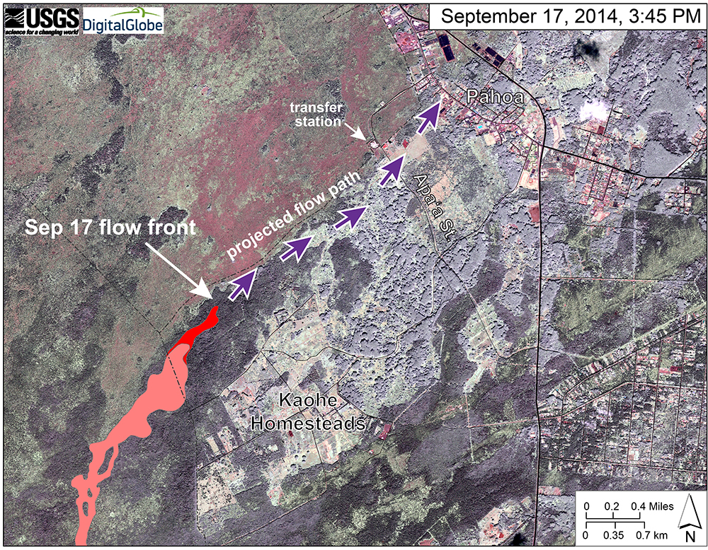 "USGS HVO: ""This map uses a satellite image acquired in March 2014 as a base image to show the area around the front of the June 27th lava flow. The purple arrows show the projected path of the flow over the coming two weeks, based on the current flow activity and local topography. Lava flow behavior is complex and this projection is subject to change. Satellite image provided by Digital Globe. """