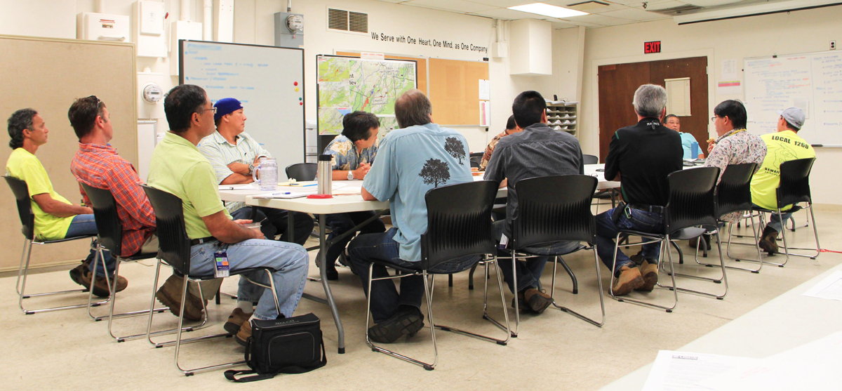 HELCO employees meeting to prepare for the lava flow, courtesy: Hawai'i Electric Light Company