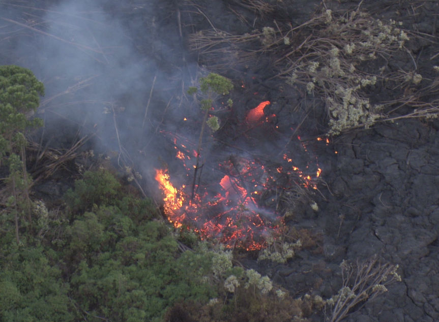 VIDEO: Flyover Shows Stalled Flow Front, Lava Breakouts
