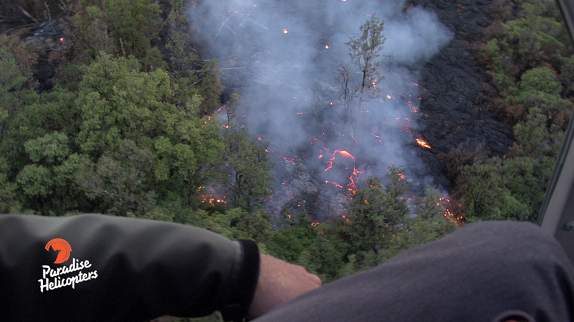 Photo over the June 27 Lava Flow taken by Mick Kalber (Tropical Visions Video) aboard Paradise Helicopters, taken on the evening of Sept. 28