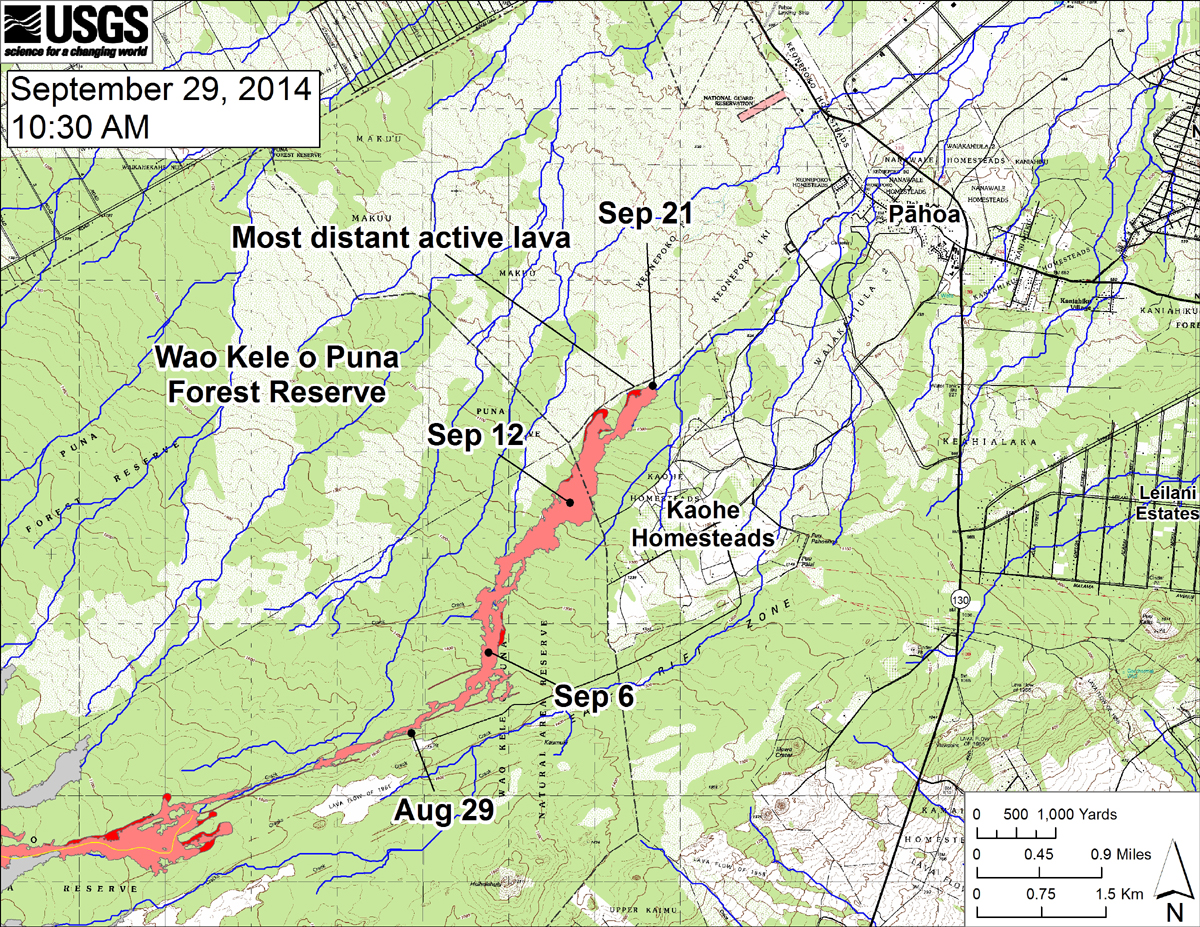 "Courtesy USGS HVO (Sept. 29) ""This large-scale map shows the distal part of the June 27th flow in relation to nearby Puna communities. The black dots mark the flow front on specific dates. Small breakouts were scattered across the surface of the flow upslope from the stalled front. Several breakouts were also active midway along the length of the flow near where lava first entered the crack system."""