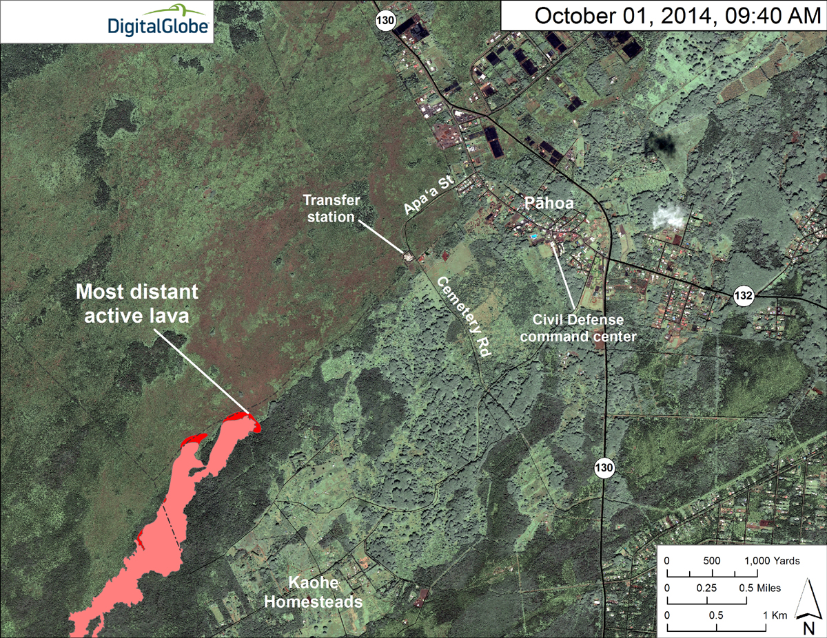 USGS HVO: This map uses a satellite image acquired in March 2014 (provided by Digital Globe) as a base to show the area around the front of the June 27th lava flow. Surface activity near the flow front was advancing slowly northeast in two lobes. The active lobe farthest from the vent (the closest to Pāhoa) has now overtaken the stalled front and extended it by about 30 m (33 yards). It traveled about 150 m (273 yards) since Monday, September 29. A second lobe was about 450 m (492 yards) back from the stalled front, and it moved only about 140 m (153 yards) since Monday.