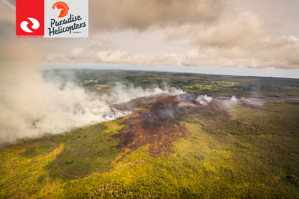 Photo of lava flow and brushfire taken Oct. 6 by Ena Media Hawaii / Paradise Helicopter.
