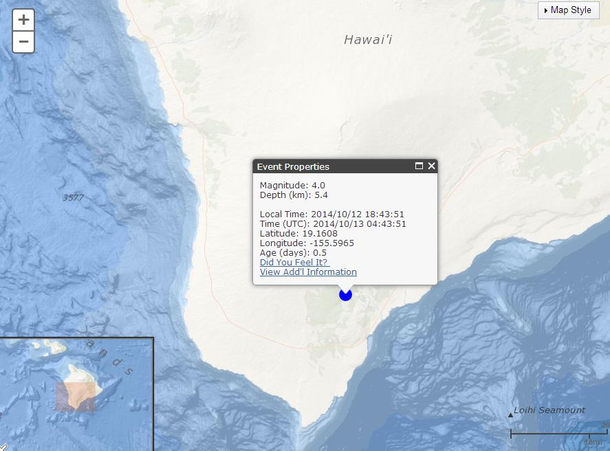 4.0 Earthquake in Ka'u Prompts USGS Media Release
