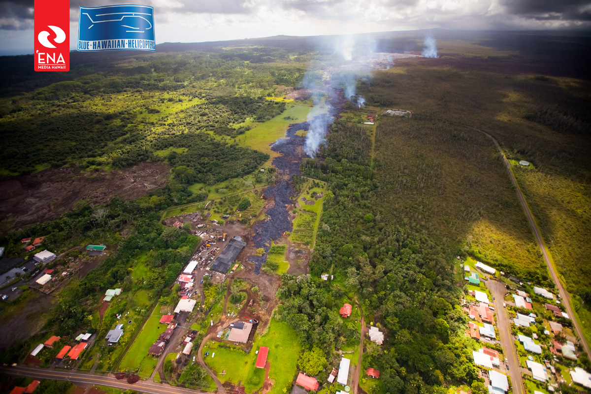 This photo, taken on October 30, illustrates the different breakouts on the north side of the flow. This image is courtesy 'Ena Media Hawai'i/Blue Hawaiian Helicopters.