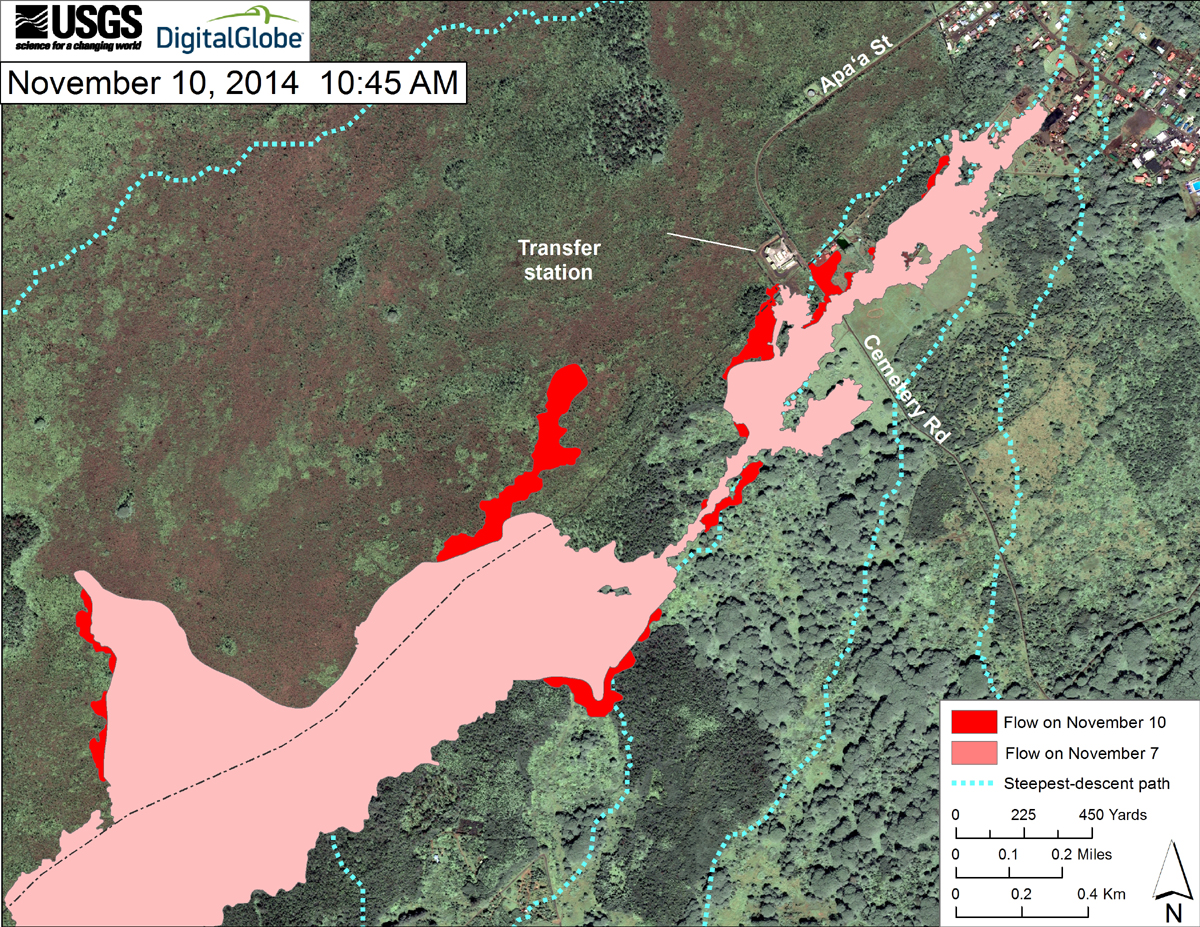 This USGS map uses a satellite image acquired in March 2014 (provided by Digital Globe) as a base at 1:13,000 scale to show the area around the front of the June 27th lava flow. The area of the flow on November 7, 2014, at 3:30 PM is shown in pink, while expansion of the flow as mapped on November 10 at 10:45 AM is shown in red. The latitude and longitude of the front of the narrow finger of lava advancing toward Pāhoa was 19.49590, -154.95256 (Decimal Degrees; WGS84). The dotted blue lines show steepest-descent paths in the area, calculated from a 1983 digital elevation model (DEM).