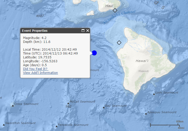 Magnitude 4.2 Earthquake In Ocean NW of Kailua-Kona