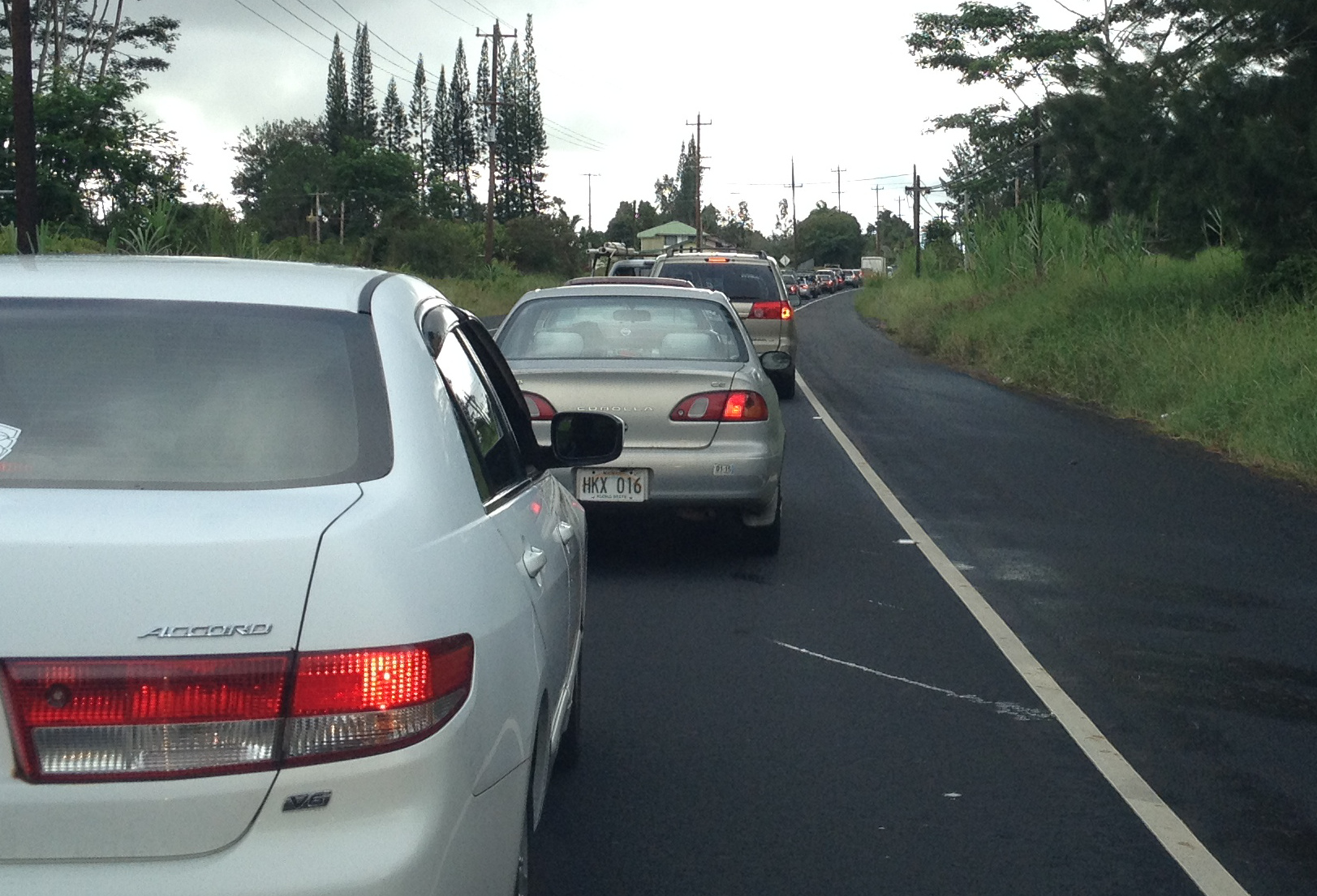 Traffic backed up on Highway 11 north of Kulani Road after 3 pm on Tuesday.