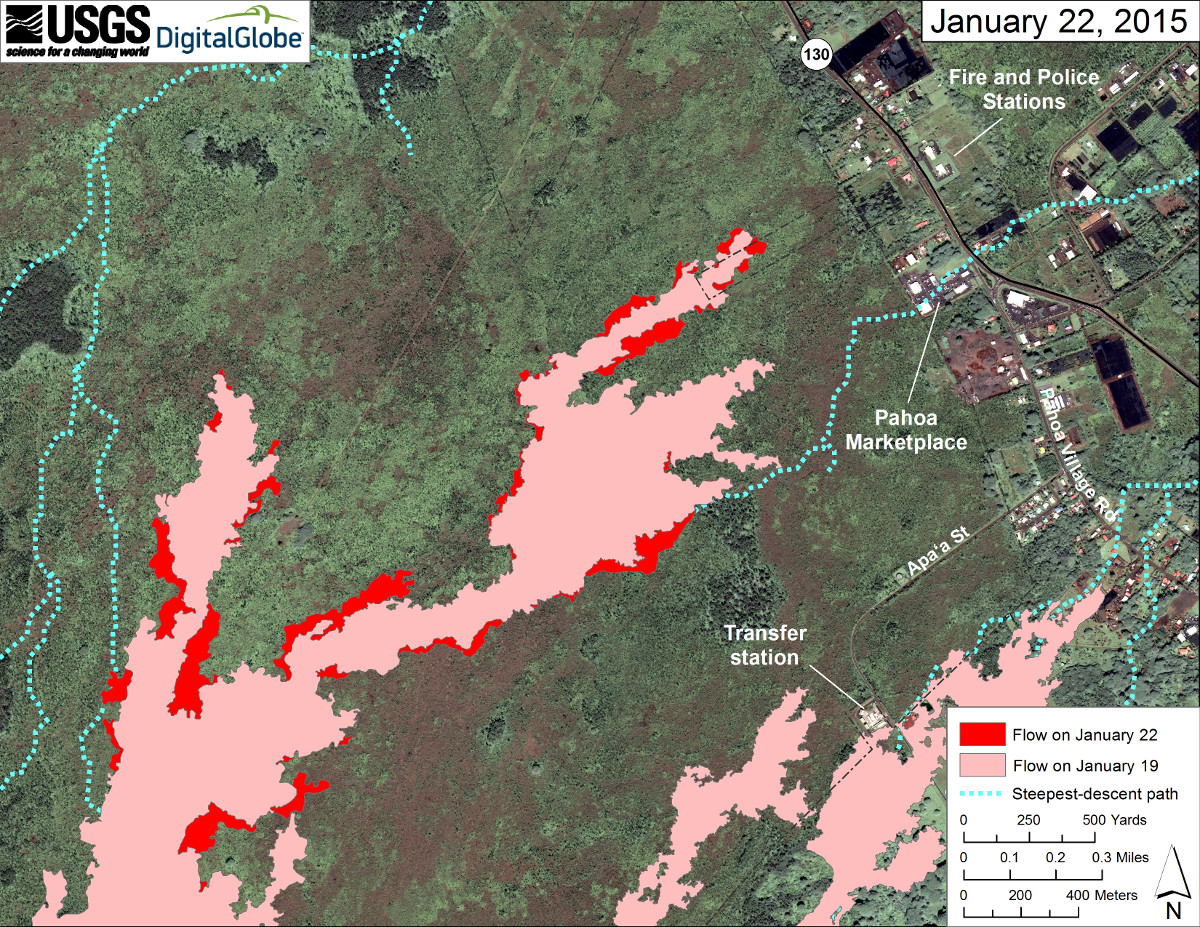 Jan 22 satellite image of area around front of Kīlauea's East Rift Zone lava flow, courtesy USGS HVO