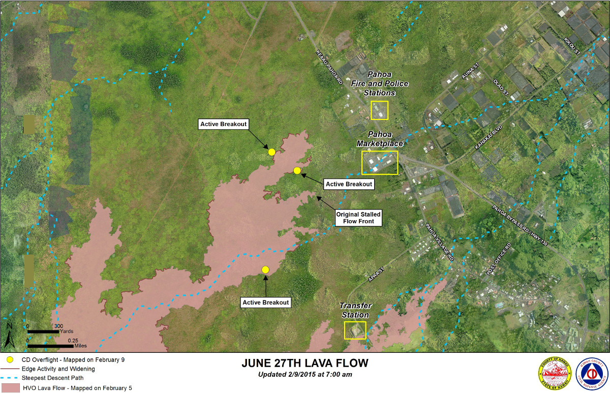 Civil Defense Lava Flow Map with Imagery - Updated Monday 2/9/15 at 7:00 am