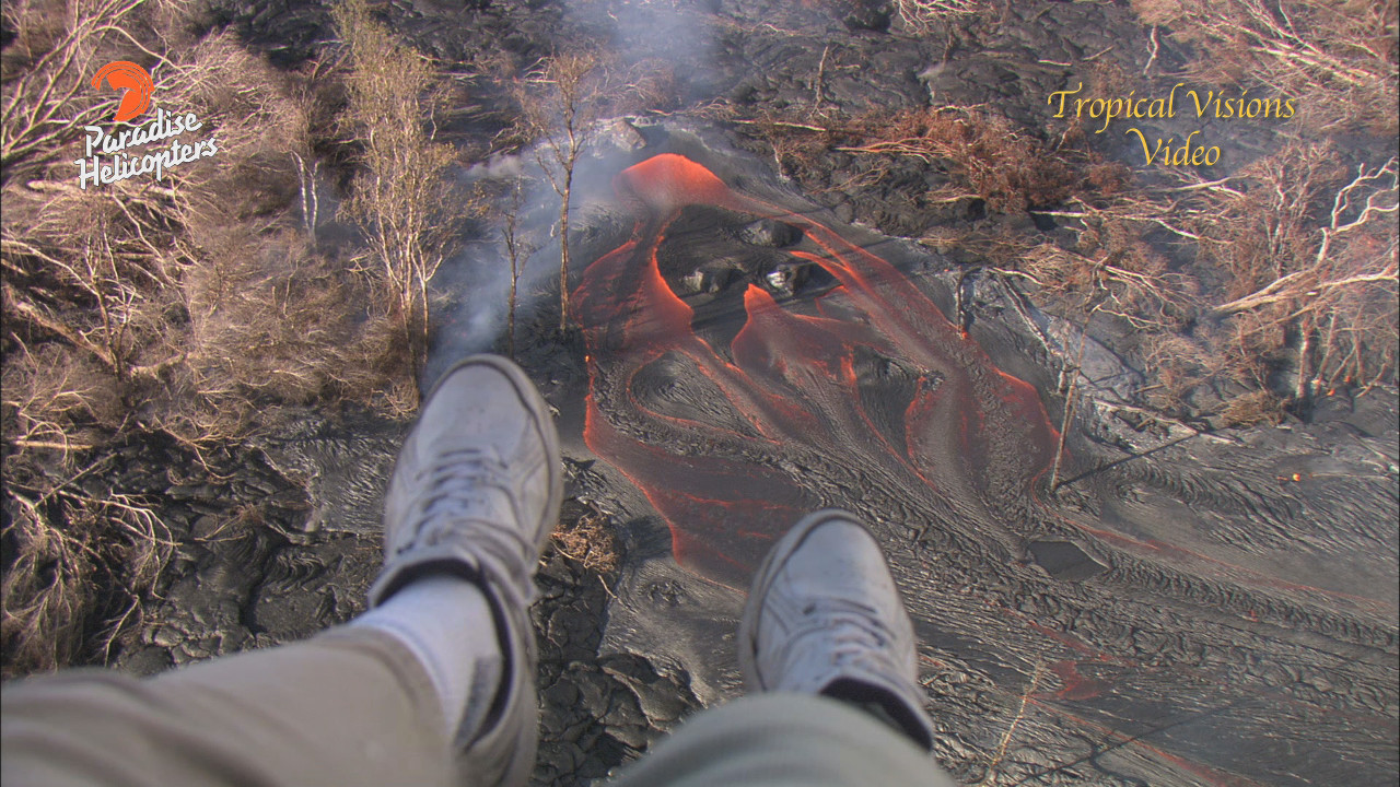 VIDEO: Large Lava Breakout Filmed Upslope