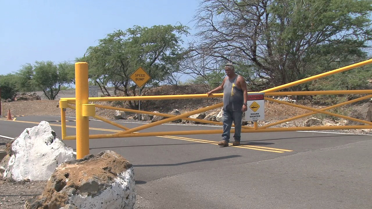 State personnel close the gates to Hapuna. Image taken from video by Visionary Video