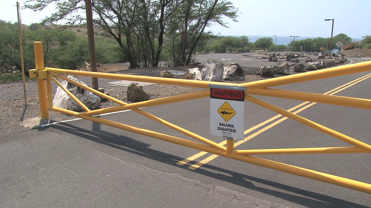 Closed gate at Hapuna following a shark attack. Image taken from video by Visionary Video