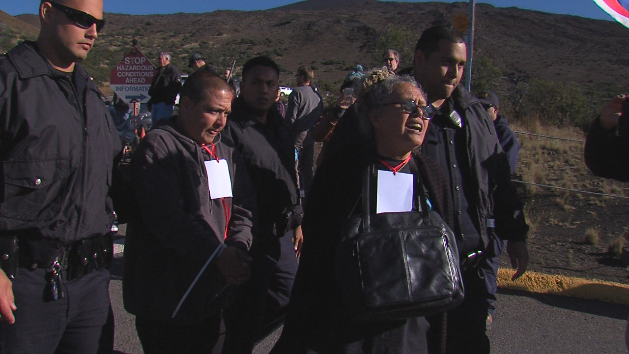 Moanikeala Akaka and Eric Heaukulani taken away by police. Akaka made it known she did not appreciate the handcuffs.