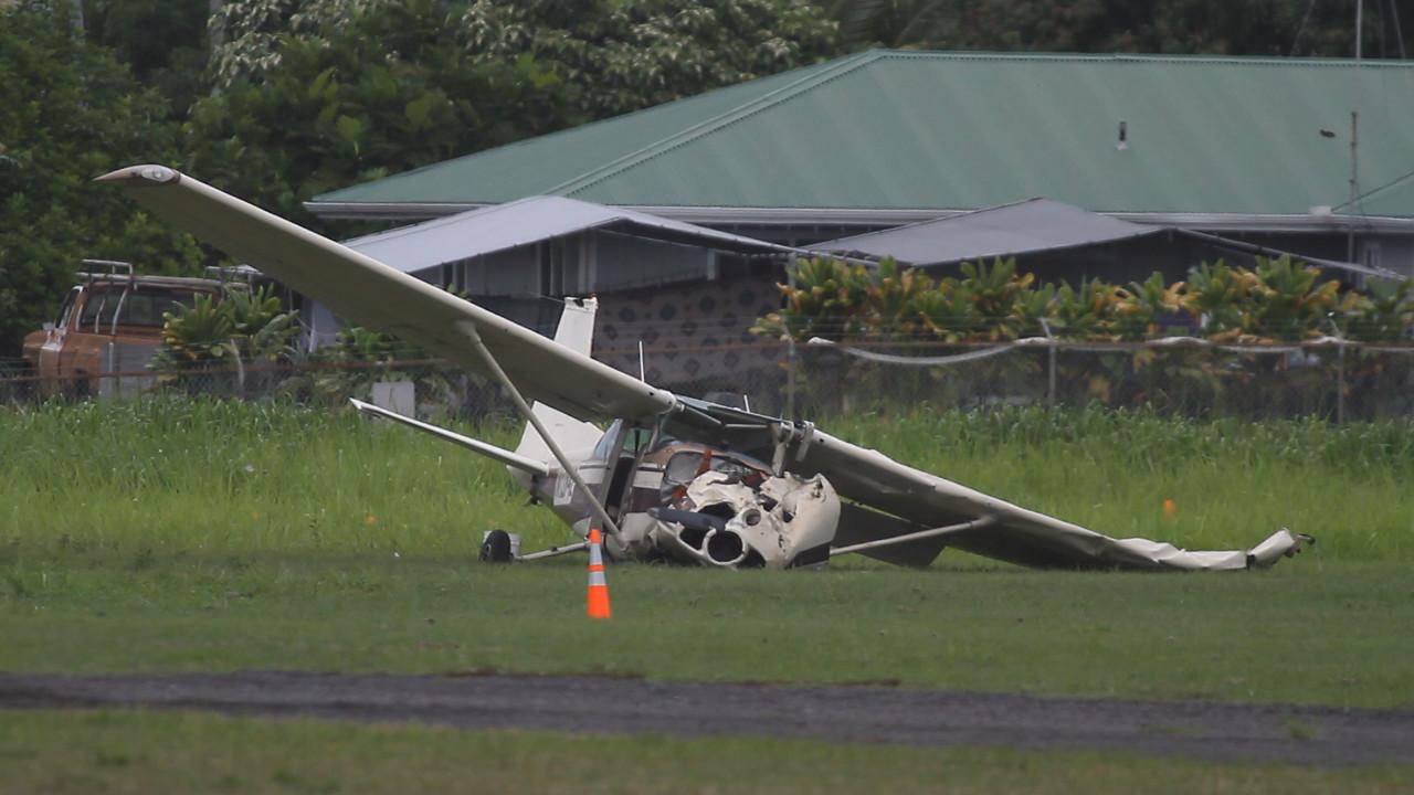 Photo of the downed plane courtesy Baron Sekiya at Hawaii247.com
