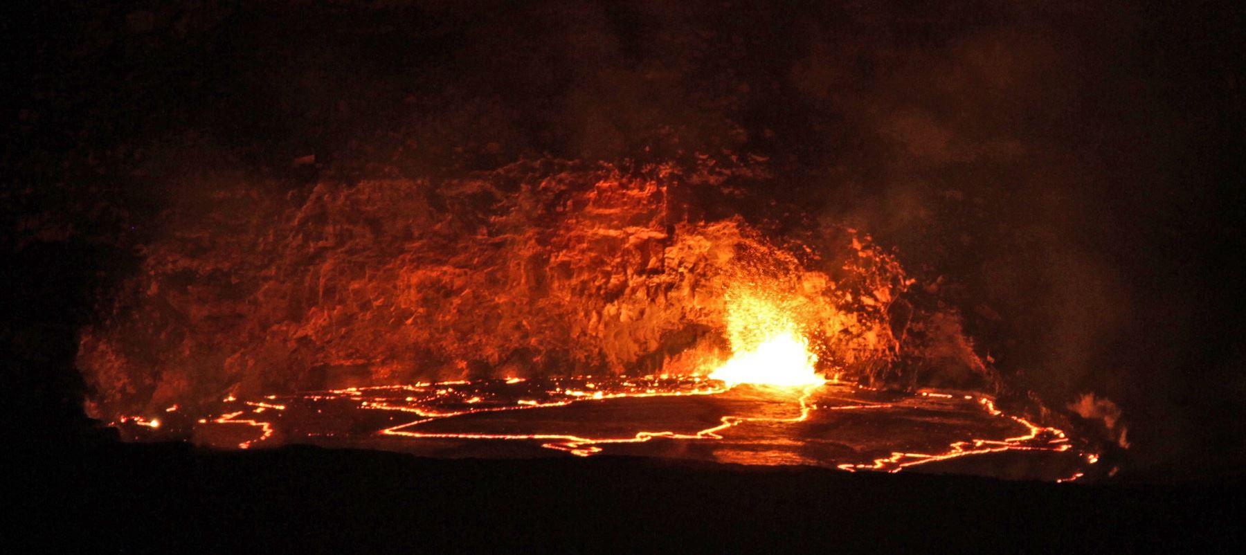 Lava Lake Reaches Rim, No Overflow Yet