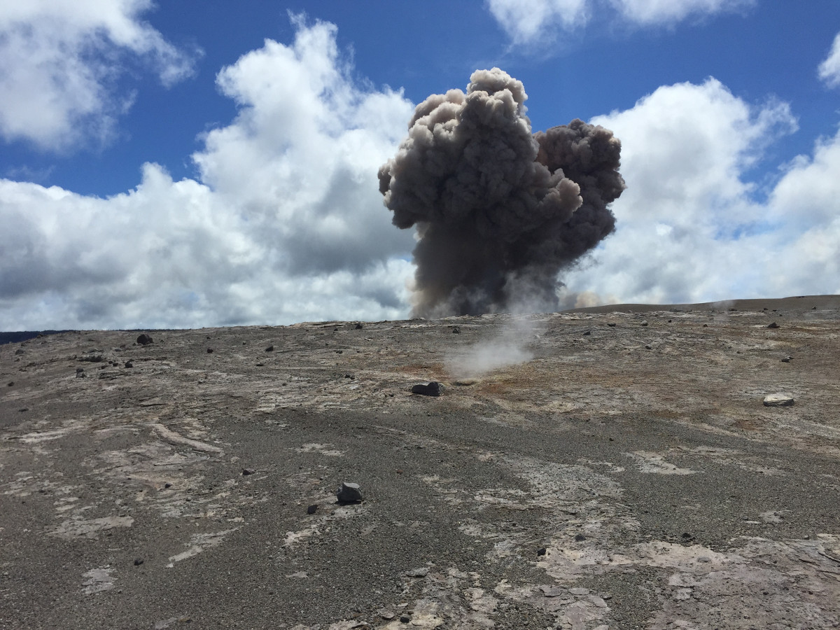 HVO geologists working on the far side of the crater captured the initial moments of the plume rising. (USGS photo)