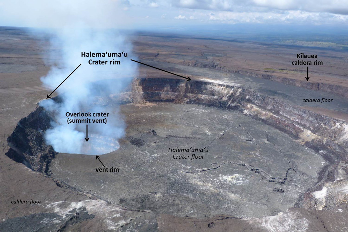USGS Image: The active vent (Overlook crater) at the summit of Kīlauea Volcano is located within Halemaʻumaʻu, a crater within the volcano's caldera. The lava lake within the summit vent was about 70 m (230 ft) below the vent rim when this aerial photo was taken on March 6, 2015. Hawaiʻi Volcanoes National Park's Jaggar Museum is perched on the Kīlauea caldera rim (out of view to the right).