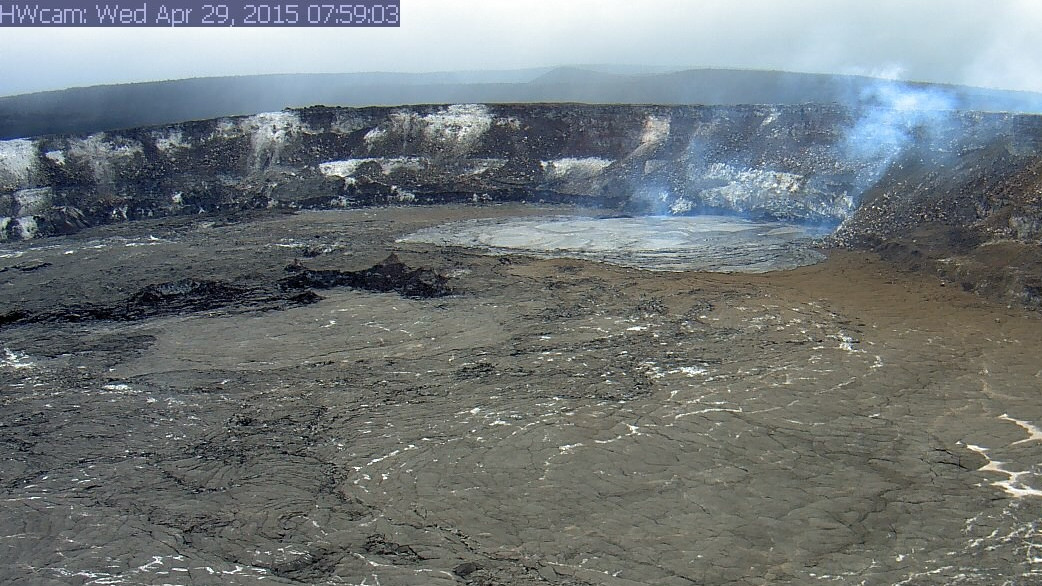 Lava spillover shown from another USGS webcam angle, captured shortly after daybreak.