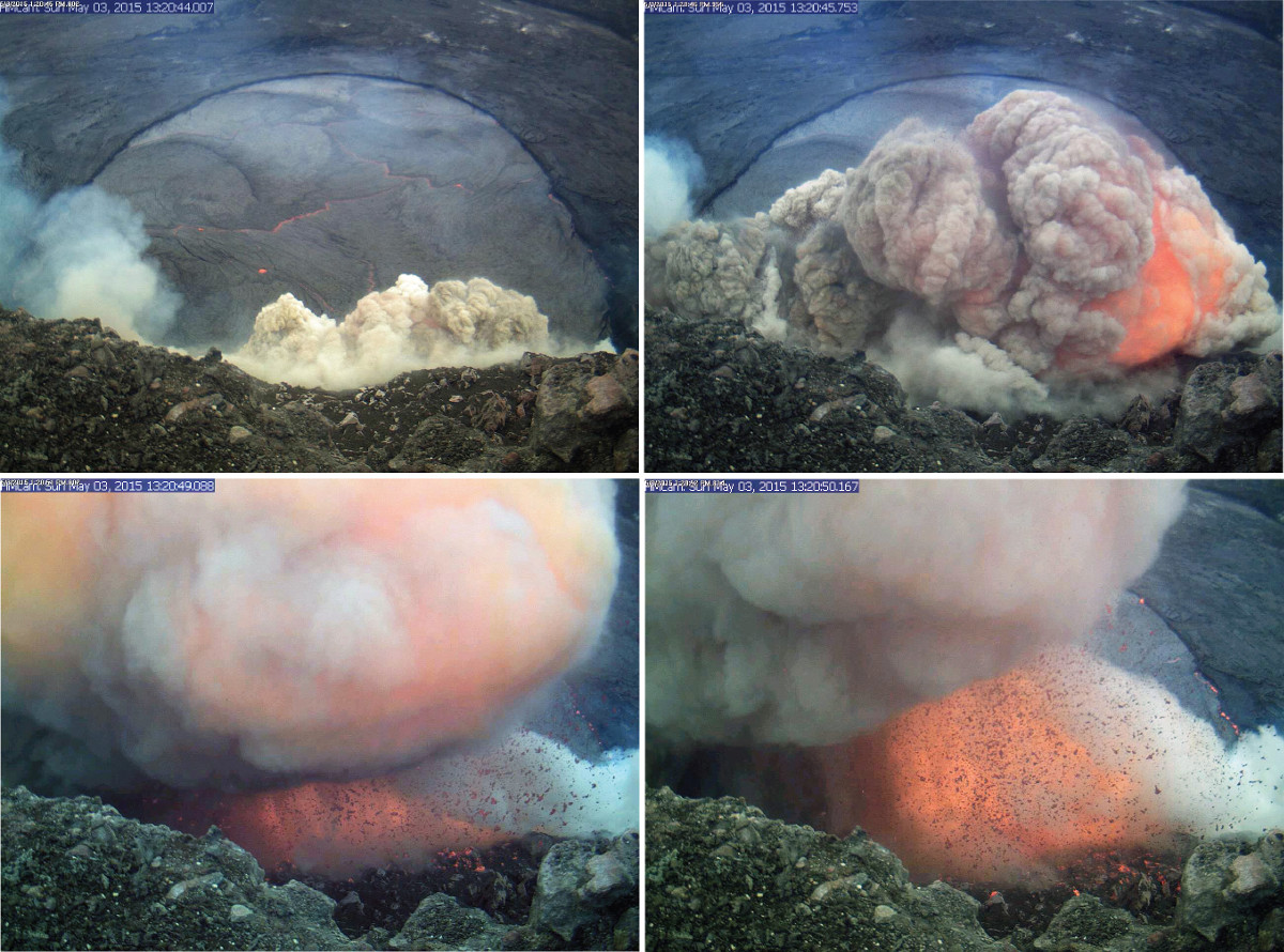 A sequence of USGS still images taken from the webcam positioned at the closed Halemaʻumaʻu overlook, spanning about six seconds. The collapse originated from a portion of the wall directly below the webcam, but just out of view. Large pieces of molten spatter can be seen flying through the air and being deposited on the crater walls below the camera.