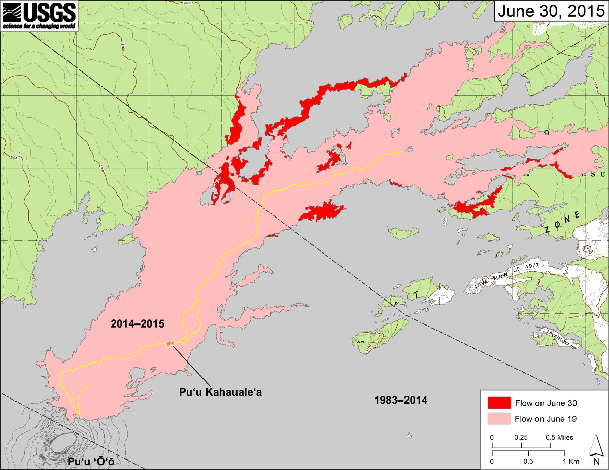 This most recent USGS Hawaiian Volcano Observatory map shows recent changes to Kīlauea's active East Rift Zone lava flow field. The area of the flow on June 19 is shown in pink, while widening and advancement of the flow as of June 30 is shown in red. Puʻu ʻŌʻō lava flows erupted prior to June 27, 2014, are shown in gray.