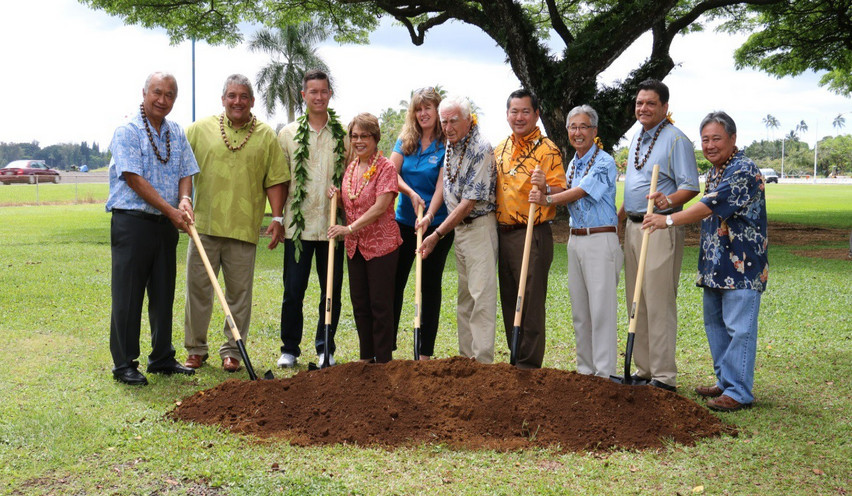 "Mayor Billy Kenoi, state Sens. Gilbert Kahele and Lorraine Inouye, and Hilo CouncilmanDennis ""Fresh"" Onishi were among the dignitaries who praised the project's benefits during the groundbreaking ceremony. Pastor Evan Carmichael of the Church on a Sure Foundation delivered the prayer.  Photo courtesy Hawaii County Dept. of Parks and Recreation"