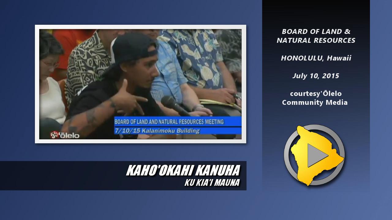 VIDEO: Kahookahi Kanuha Testifies Before BLNR