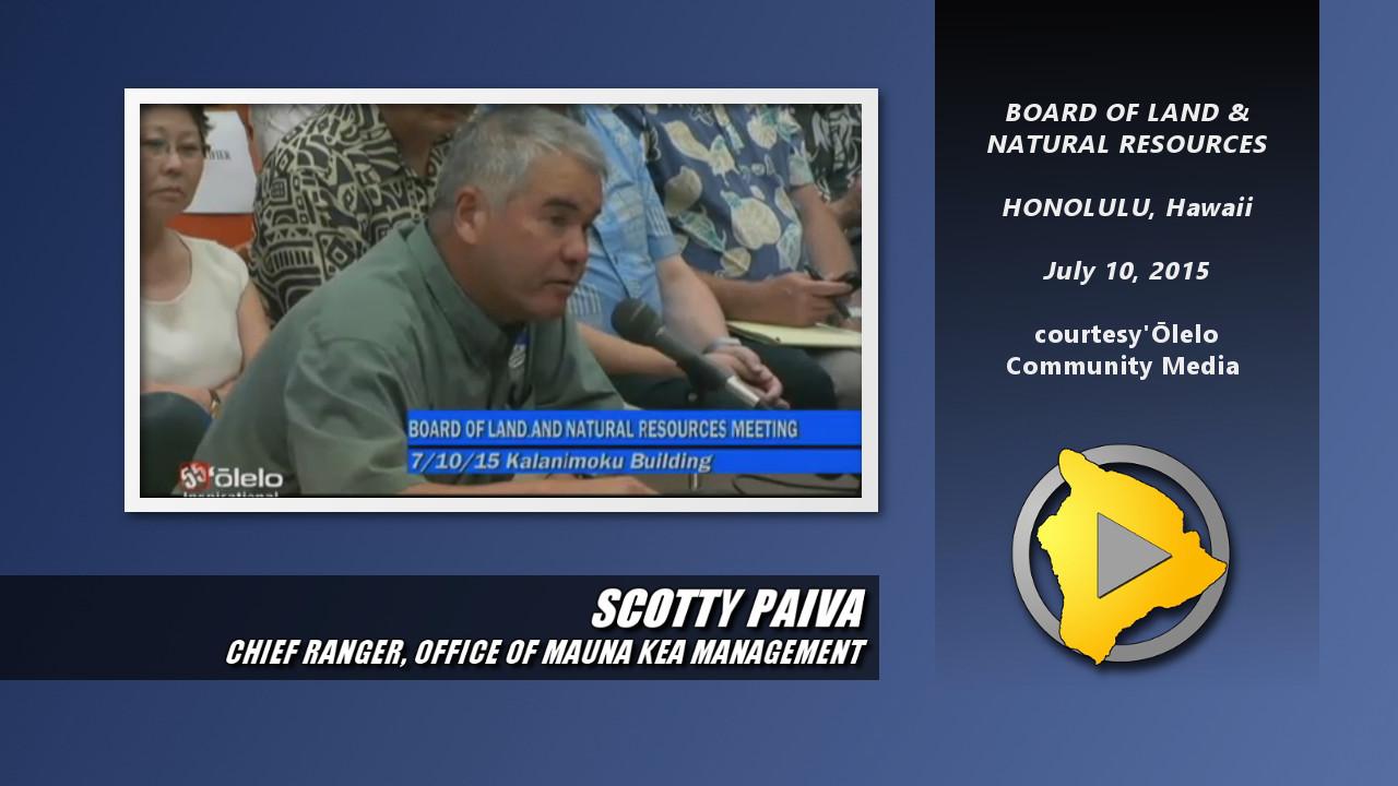VIDEO: Chief Mauna Kea Ranger Speaks Out