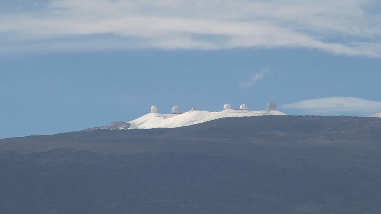 A view of the snow-capped summit from below in Waimea, courtesy Visionary Video.