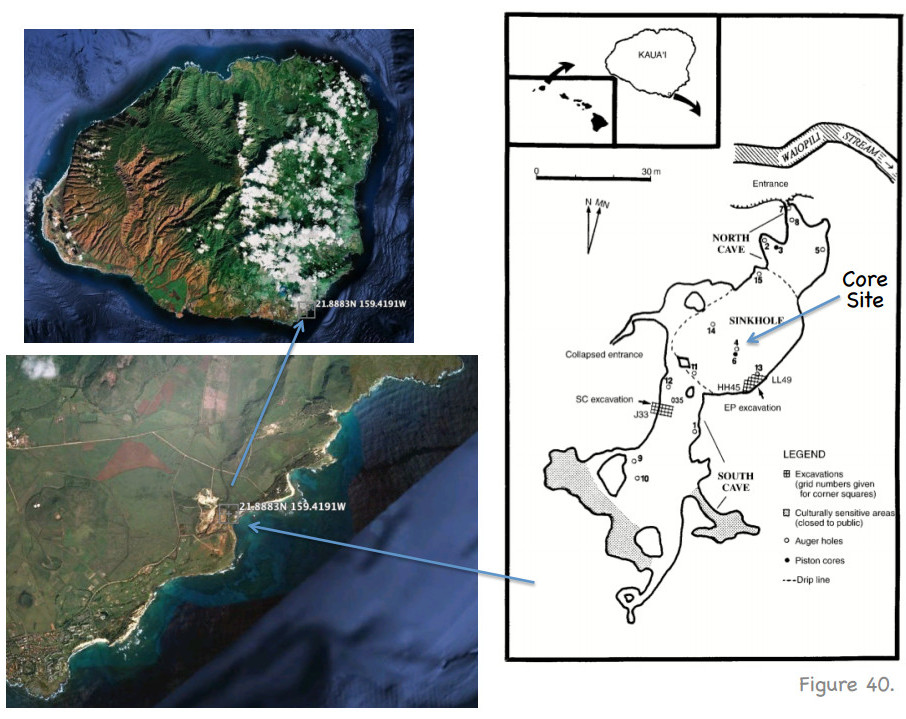 """The core site on Kauai where the findings were made, courtesy """"Great Aleutian Tsunamis"""".  (January , 2014.  Rhett Butler.  Hawaii Institute of Geophysics and Planetology.  Peer-reviewed Reports, HIGP-2014-1)"""