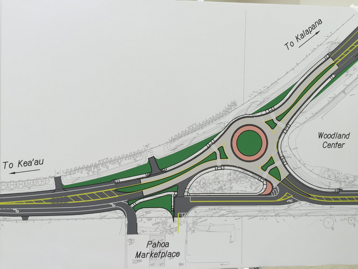 Another view of the Pahoa Roundabout design, one of the displays at the community meeting Wednesday night.