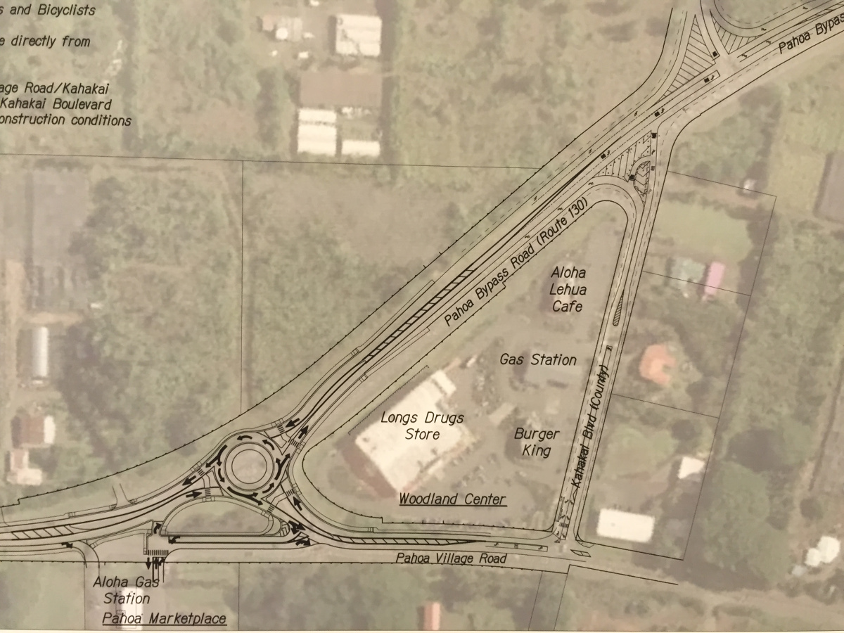 A look at the Pahoa Roundabout design, one of the displays at the community meeting Wednesday night.