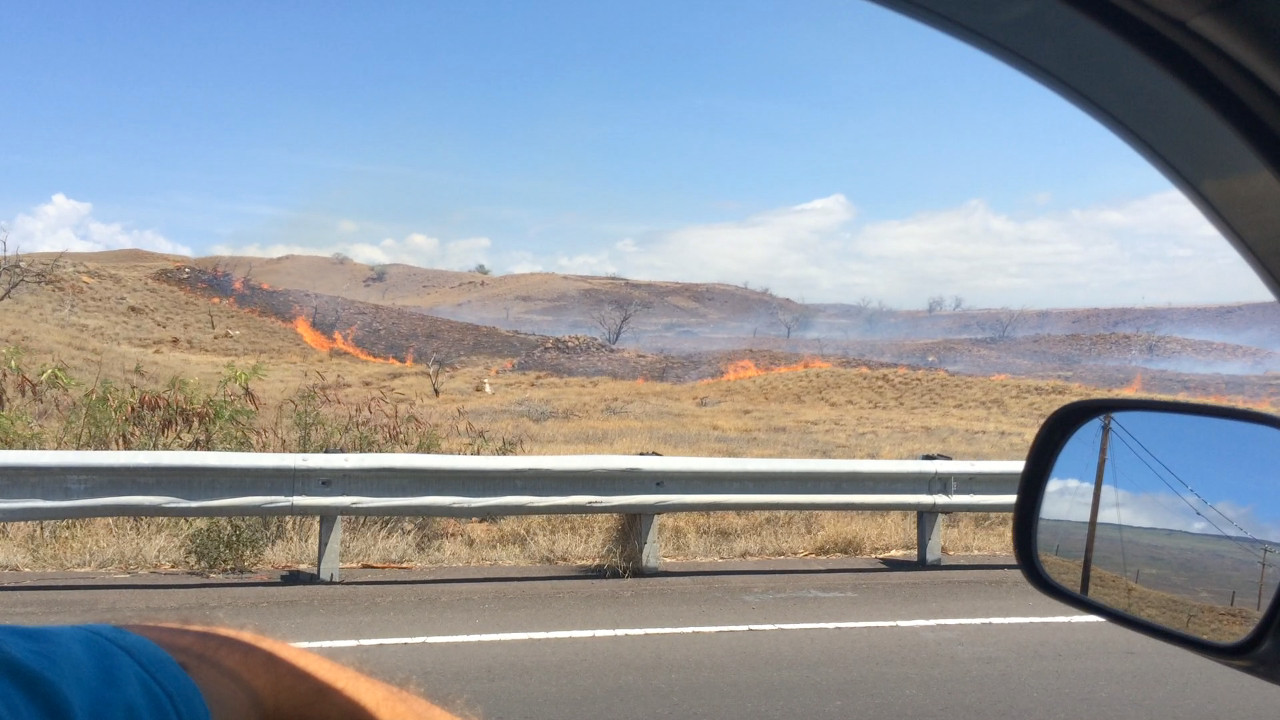 Brushfire approaches Kawaihae Road, image courtesy Visionary Video