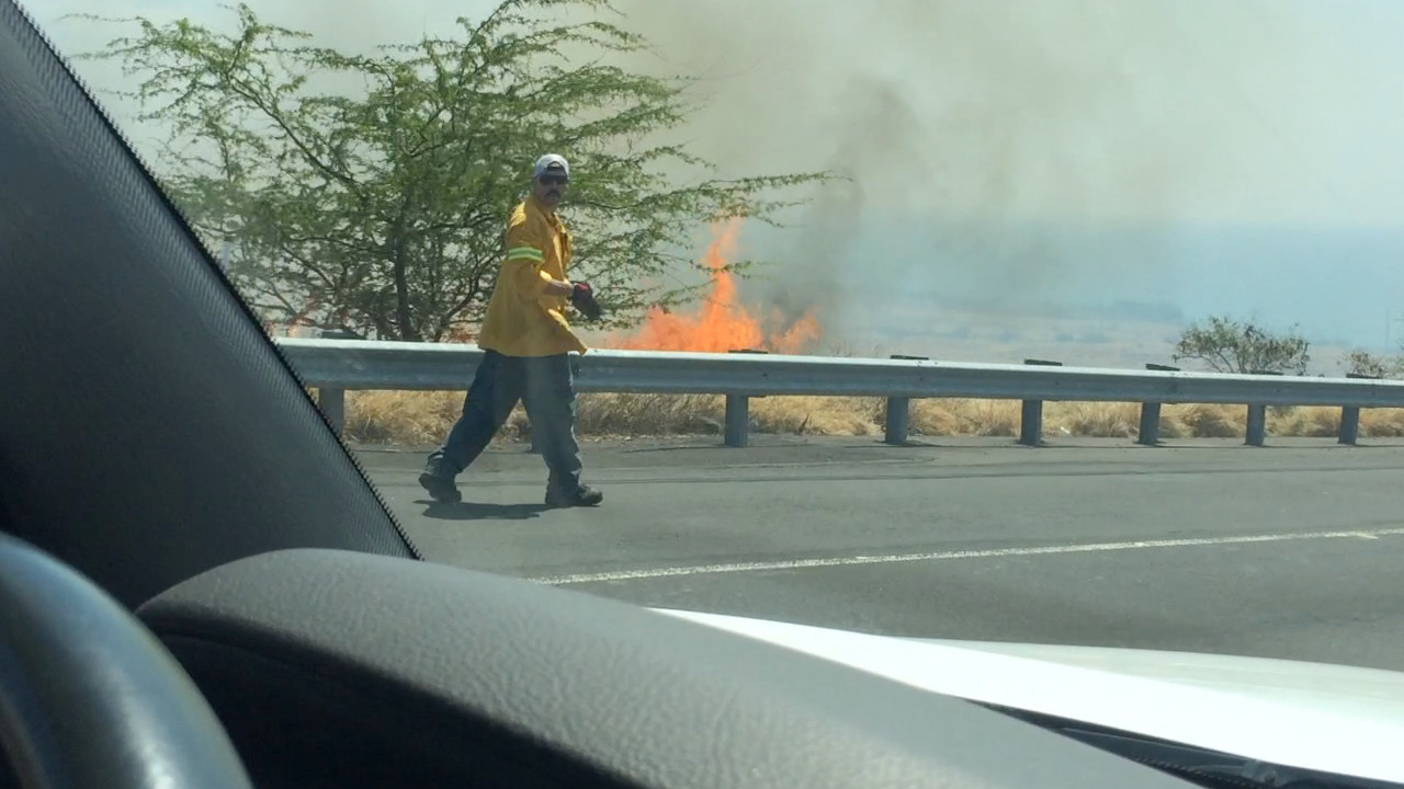 VIDEO: Driving Through The Brushfire In South Kohala