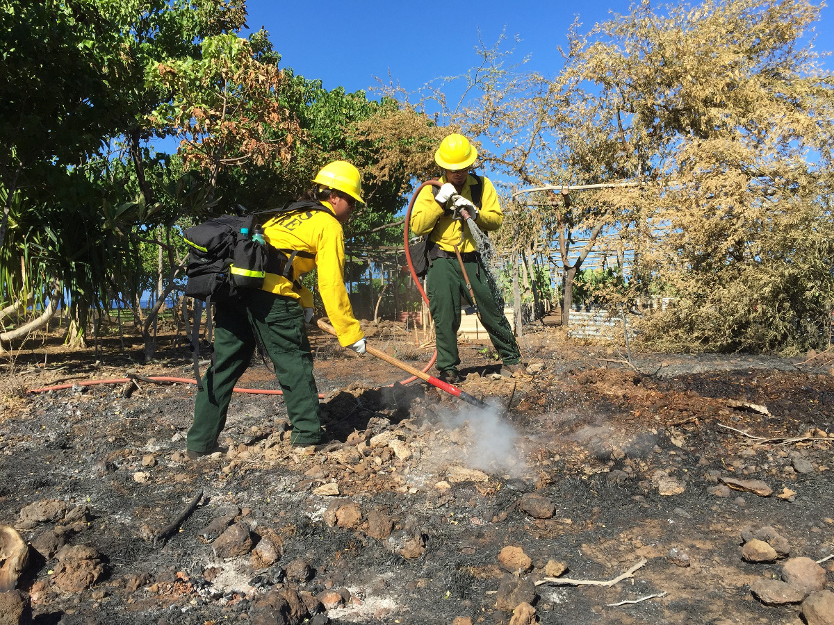 Firefighters put out the blaze before it reached the park's buildings. (NPS photo)