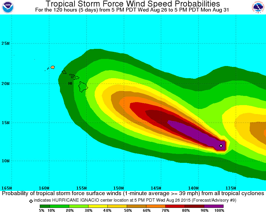 Tropical Storm Force Wind Speed Probabilities - 120 Hours by NWS at 5 p.m. HST. The storm following closely behind is Tropical Depression THIRTEEN-E, which is also forecast to become a major hurricane.